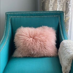 West Elm Mongolian fur pillow cover and insert